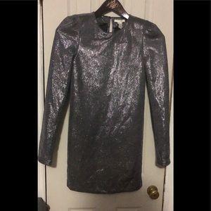 High shine long sleeve sheath dress